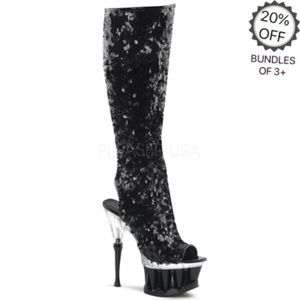 Pleaser | Knee High Black Sequined Boots | 10